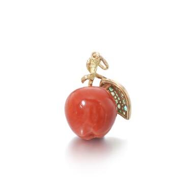 View 3. Thumbnail of Lot 29. Coral, tsavorite and diamond pendant.
