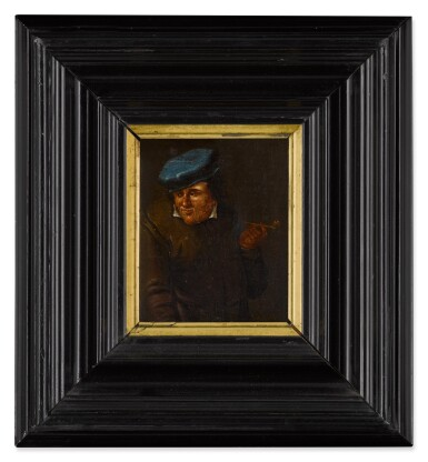 View 3. Thumbnail of Lot 33. Portrait of a man with a pipe and blue hat.