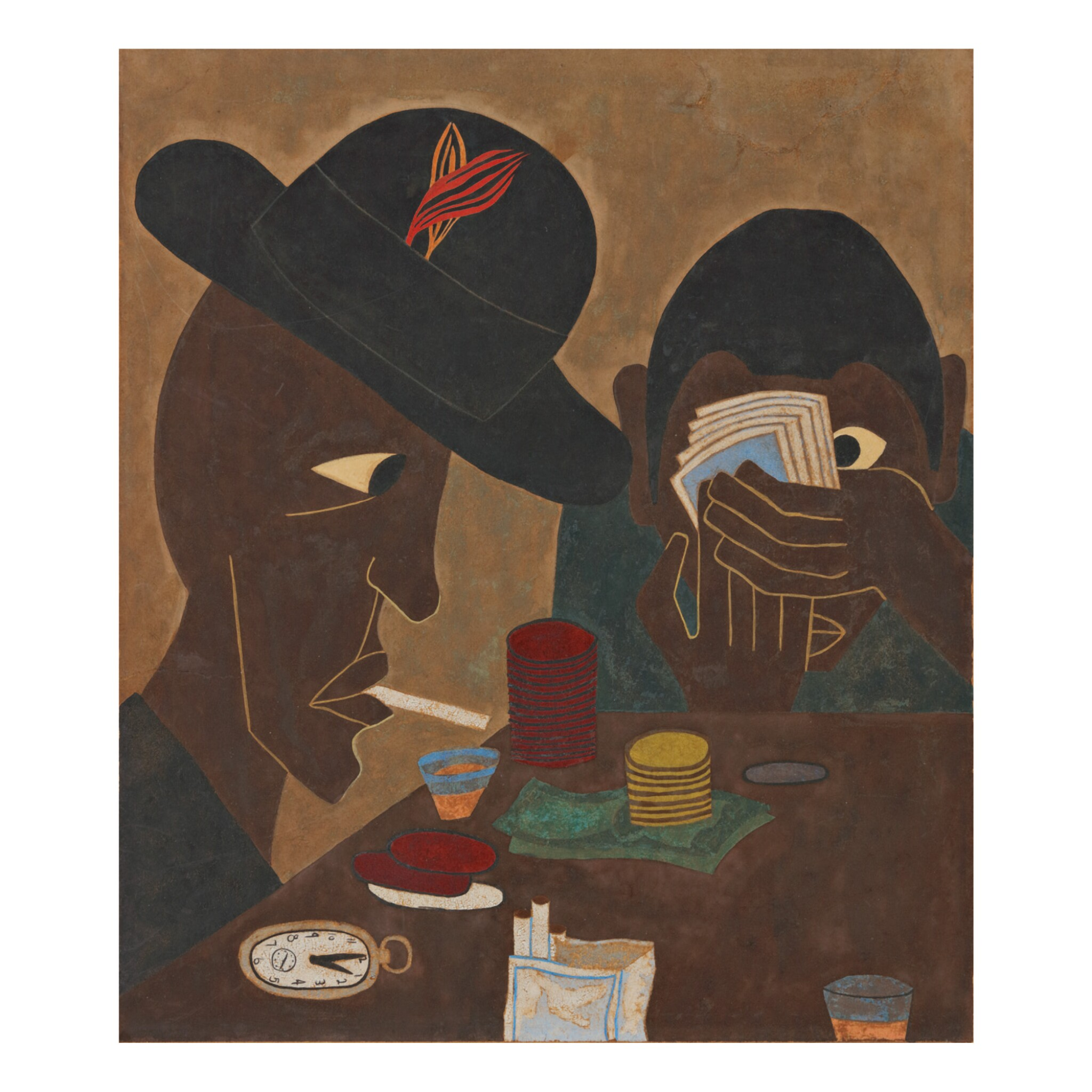 View full screen - View 1 of Lot 14. JACOB LAWRENCE | UNTITLED (CARD PLAYERS).