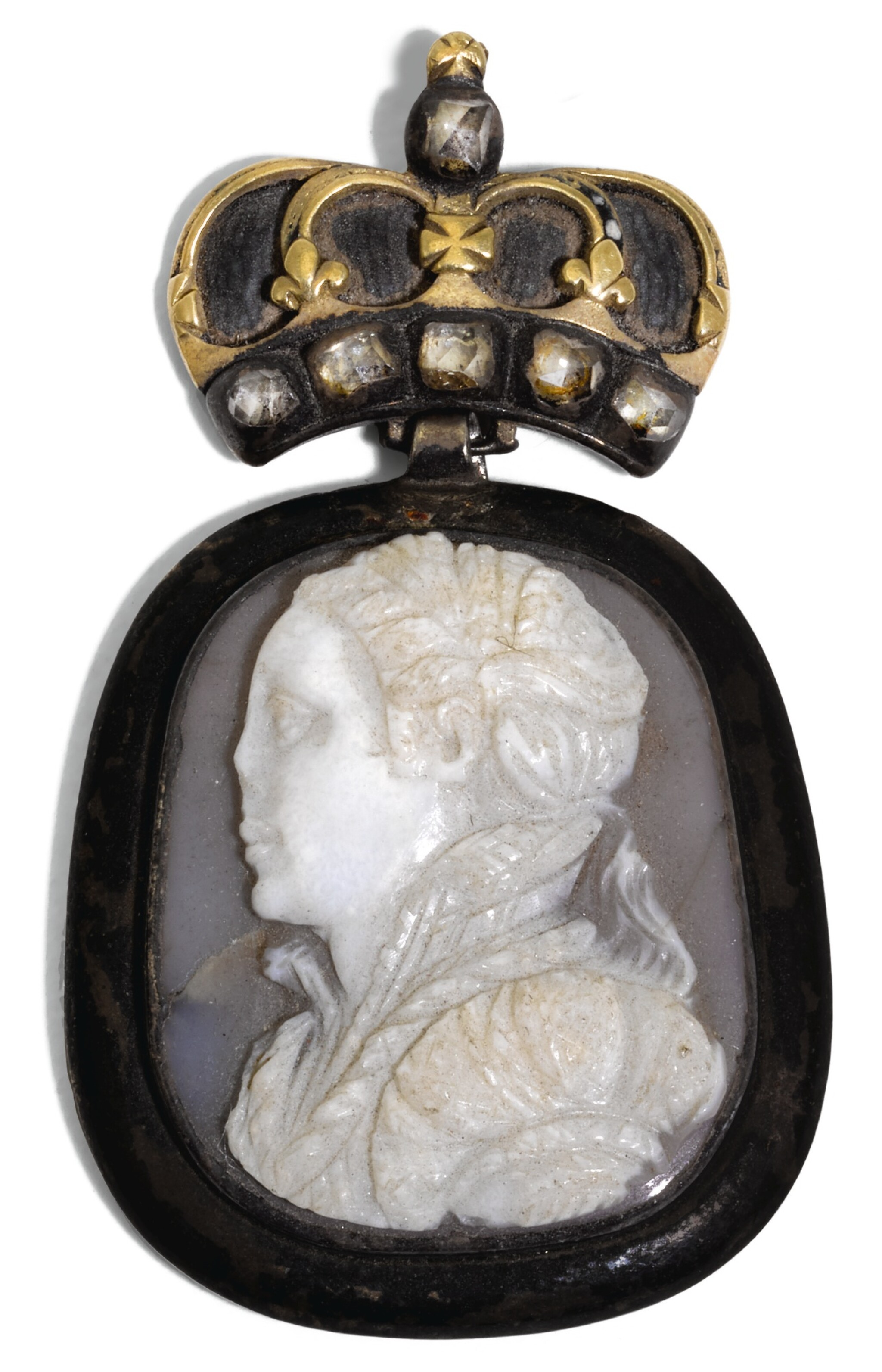View full screen - View 1 of Lot 176. PROBABLY ITALIAN, SECOND HALF 16TH CENTURY | CAMEO WITH A YOUNG WOMAN, THOUGHT TO BE MARY QUEEN OF SCOTS.