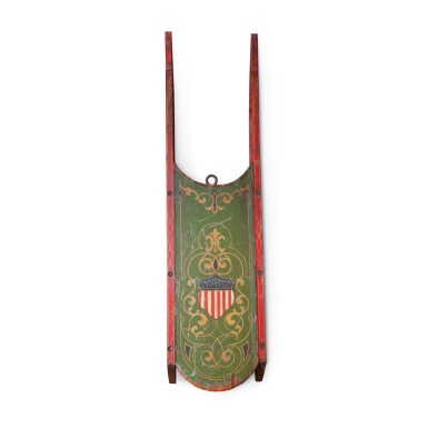 FINE AND RARE CHILD'S POLYCHROME PAINT-DECORATED WOOD SLED WITH PATRIOTIC SHIELD, AMERICA, CIRCA 1865