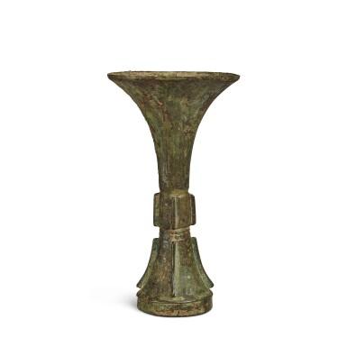View 4. Thumbnail of Lot 2. An archaic bronze ritual wine vessel (Gu), Late Shang dynasty | 商末 青銅饕餮紋觚.