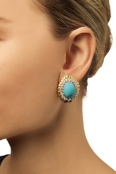 View 2. Thumbnail of Lot 304. PAIR OF GOLD, TURQUOISE AND DIAMOND EARCLIPS, DAVID WEBB .