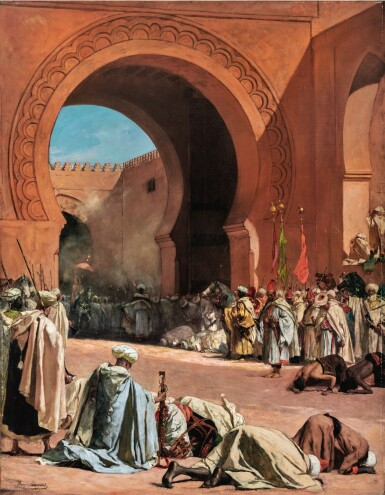View 1. Thumbnail of Lot 28. JEAN-JOSEPH BENJAMIN-CONSTANT | THE KING OF MOROCCO LEAVING TO RECEIVE A EUROPEAN AMBASSADOR.