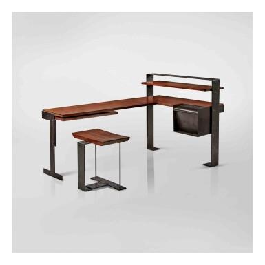 View 1. Thumbnail of Lot 348. Desk, Model No. MB 405, and Stool, Model No. SN 3.