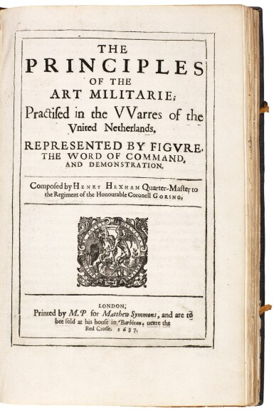 View 3. Thumbnail of Lot 242. Hexham, Principles of the art militarie, London, 1637, black morocco gilt, presentation copy to Charles II.
