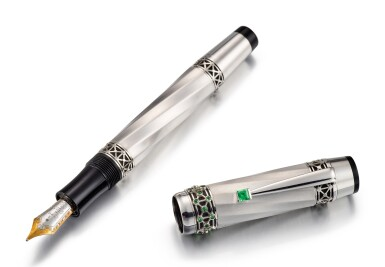 MONTBLANC | A WHITE GOLD, GREEN SAPPHIRE, MOTHER-OF-PEARL AND RESIN FOUTAIN PEN, CIRCA 2015