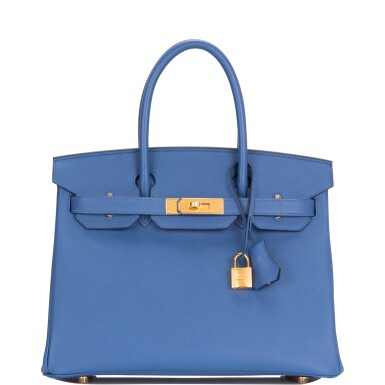 View 1. Thumbnail of Lot 9. Hermès Bleu Brighton Birkin 30cm of Epsom Leather with Gold Hardware.