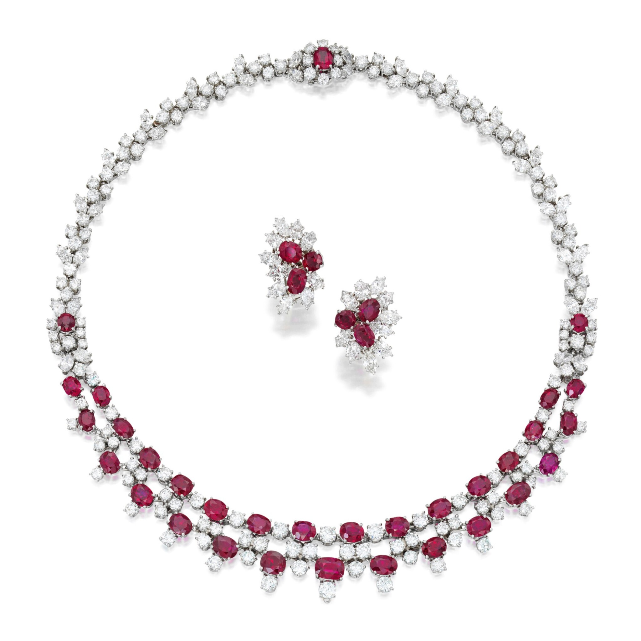 View full screen - View 1 of Lot 202. Harry Winston | Ruby and Diamond Necklace and Pair of Earclips.