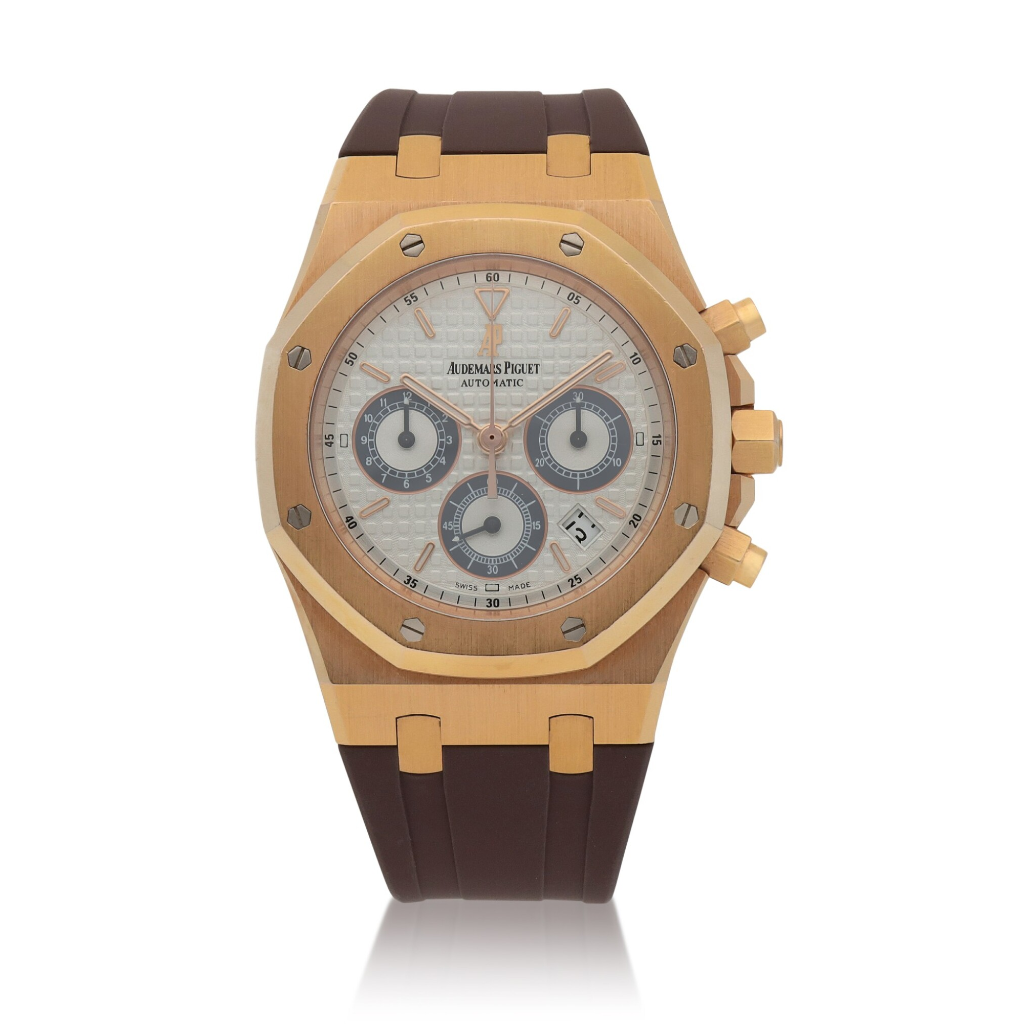 View full screen - View 1 of Lot 429. Royal Oak, Ref. 26022OR.OO.D098CR.01 Pink gold chronograph wristwatch with date Circa 2011 | 愛彼 26022OR.OO.D098CR.01型號「Royal Oak」粉紅金計時腕錶備日期顯示,年份約2011.