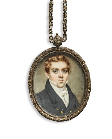 NATHANIEL ROGERS | MINIATURE PORTRAIT OF JOHN WICKHAM WELLS TOGETHER WITH A MINIATURE MOURNING PICTURE IN REMEMBRANCE OF MARY A. WELLS