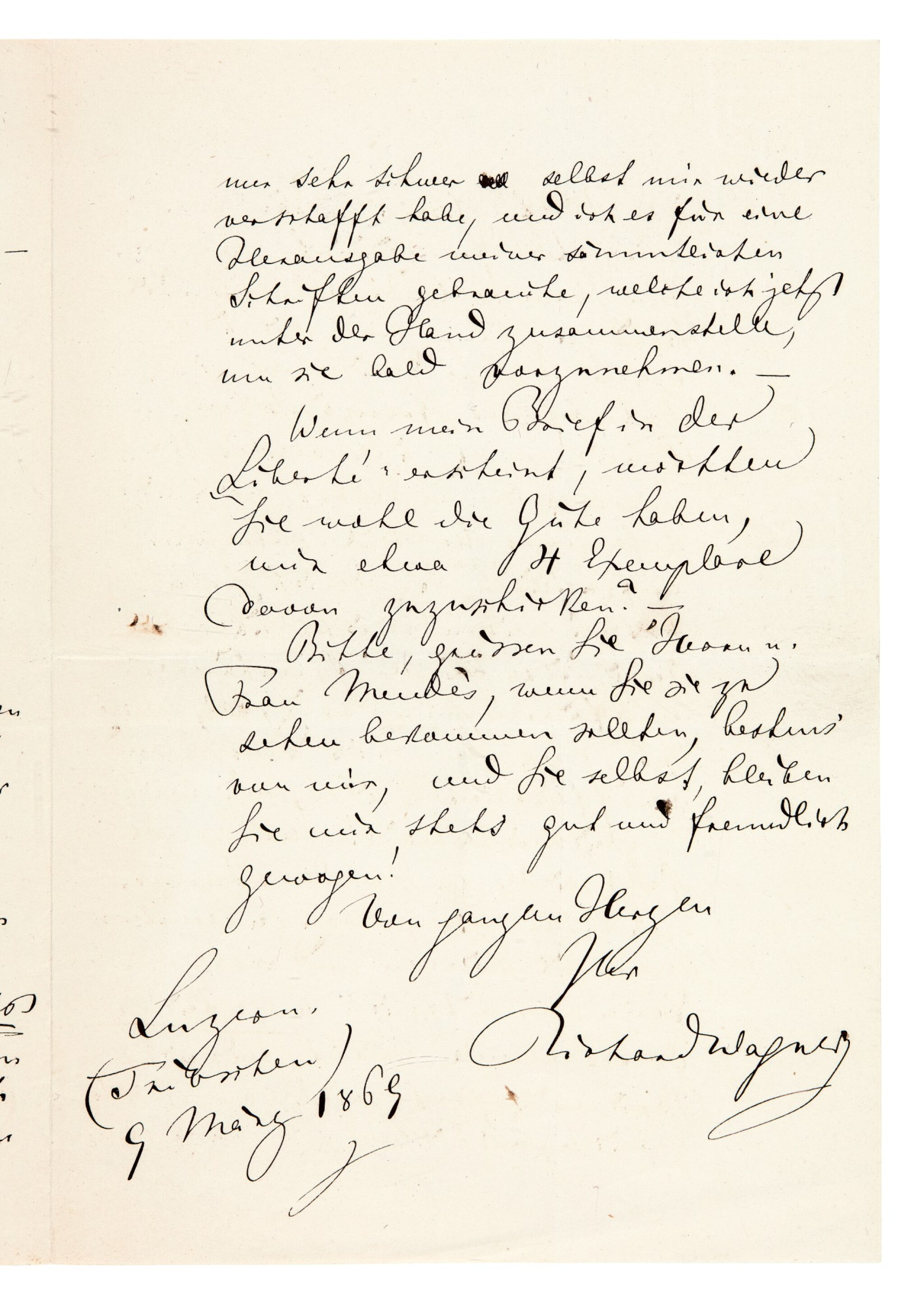 View full screen - View 1 of Lot 45. R. Wagner. Autograph letter about his pamphlet on Judaism in Music, and his views on German Jews in Paris, 1869.