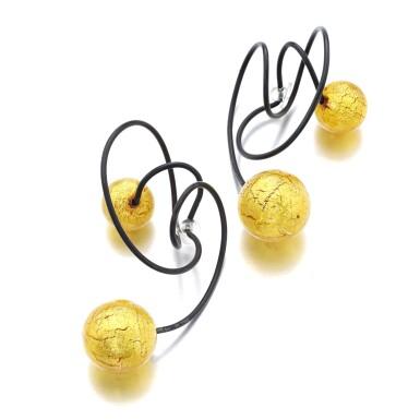 View 2. Thumbnail of Lot 1117. Pair of titanium and glass ear clips, 'Carnaval de Venise'.