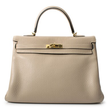 HERMÈS | GRIS TOURTERELLE KELLY RETOURNÉ  35 IN TAURILLION CLEMENCE LEATHER WITH GOLD HARDWARE, 2012