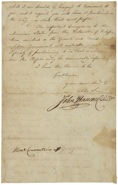 View 2. Thumbnail of Lot 2271. John Hancock, manuscript letter signed, announcing the adoption of the Declaration of Independence, 6 July 1776.