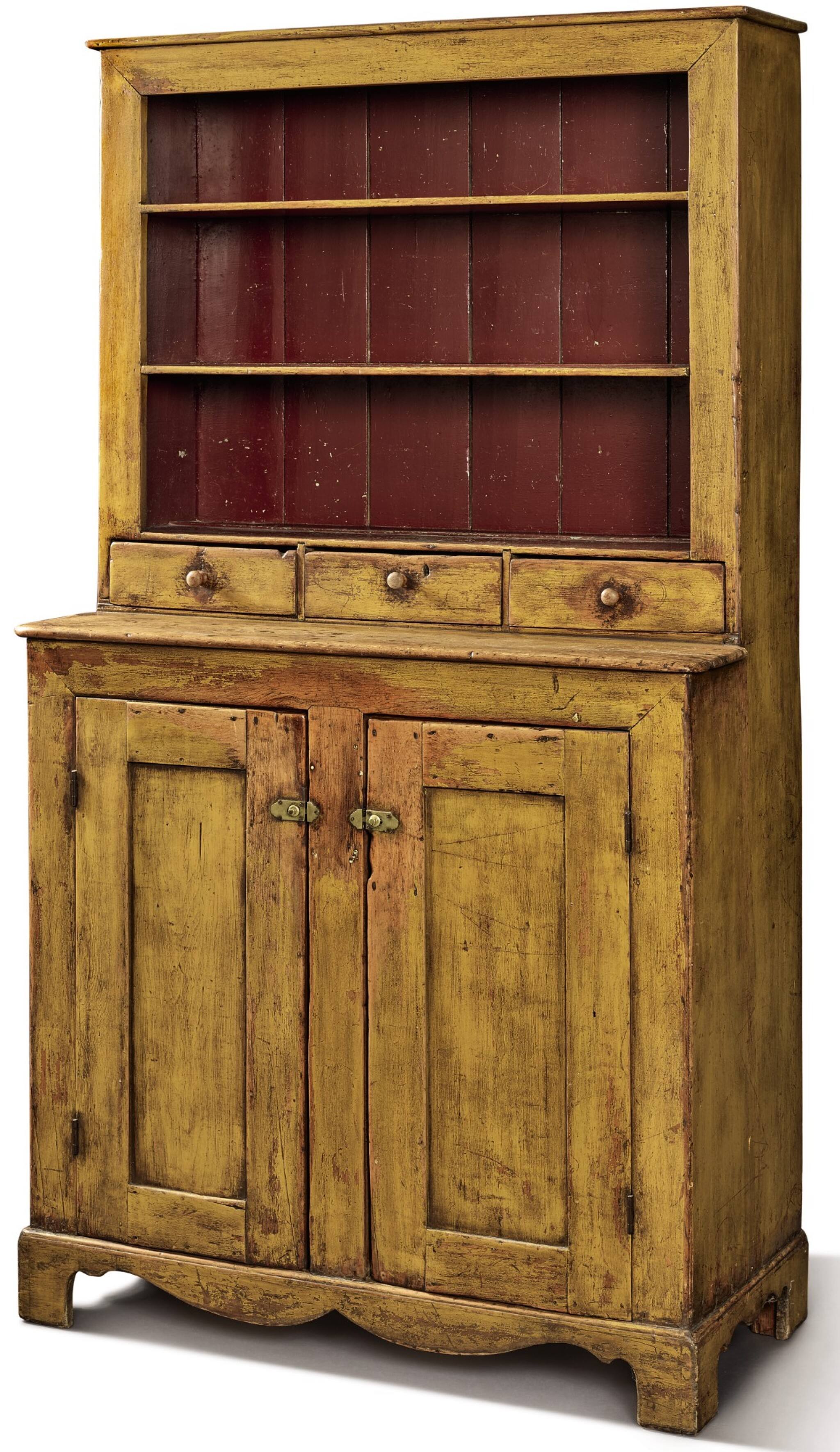 View full screen - View 1 of Lot 1527. YELLOW-PAINTED PINE STEP-BACK OPEN-TOP CUPBOARD, PENNSYLVANIA, CIRCA 1840.