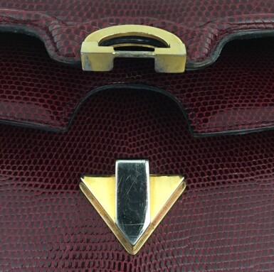 View 14. Thumbnail of Lot 725. GUCCI   BURGUNDY VINTAGE BAG IN LIZARD, c.1960s.