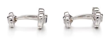 View 2. Thumbnail of Lot 1106. Pair of Sapphire and Diamond Cufflinks   格拉夫  藍寶石 配 鑽石 袖扣一對 (藍寶石及鑽石共重約1.10及3.30克拉).