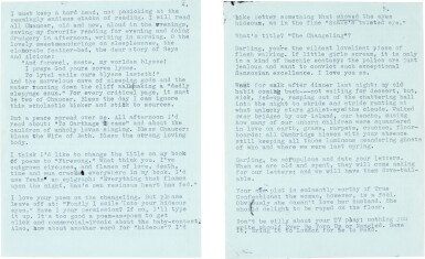 View 3. Thumbnail of Lot 10. Sylvia Plath   Typed letter signed, to Ted Hughes, discussing their poetry, 6 October 1956.