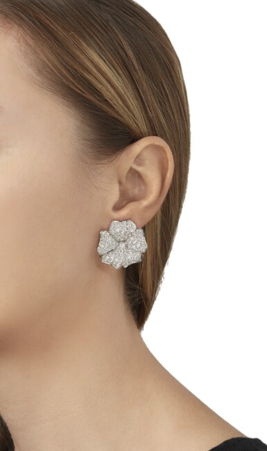 View 4. Thumbnail of Lot 79. PAIR OF DIAMOND EARCLIPS.