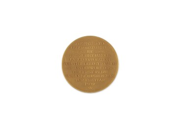 View 1. Thumbnail of Lot 197. [JOSEF VON STERNBERG]   Gold medal presented to Josef von Sternberg by Paramount Famous Lasky Corporation, for Underworld (1927).
