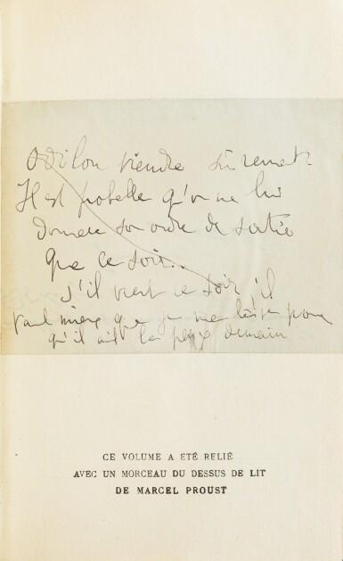 View 3. Thumbnail of Lot 295. Du côté de chez Swann. 1913. Ed originale. Exemplaire de Céleste Albaret/Jacques Guérin. + 2 billets autographes.