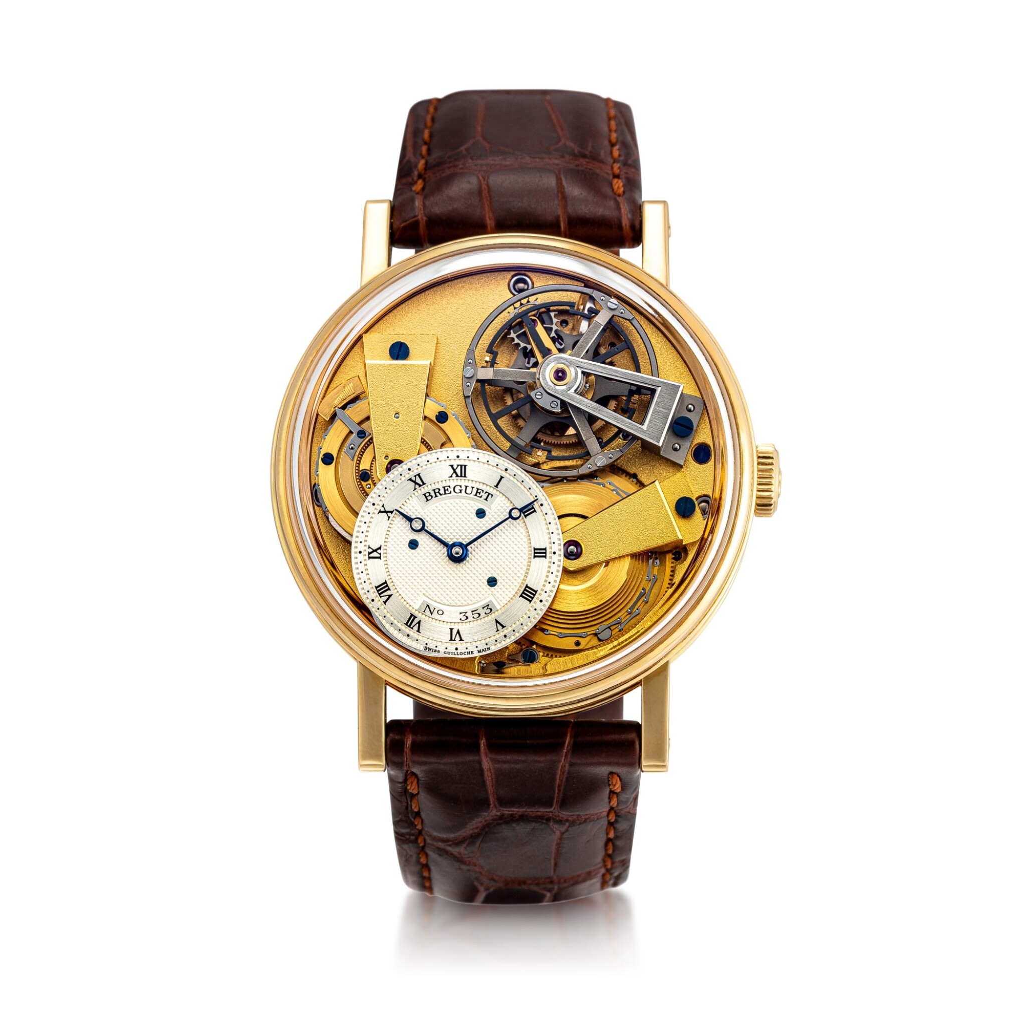View 1 of Lot 8005. Breguet | La Tradition, Reference 7047, A yellow gold semi-skeletonised tourbillon wristwatch with chain and fusée, silicon balance spring and power reserve indication, Circa 2012 | 寶璣 | La Tradition 型號7047 黃金半鏤空陀飛輪腕錶,備芝麻鏈、矽質擺輪及動力儲備顯示,約2012年製.