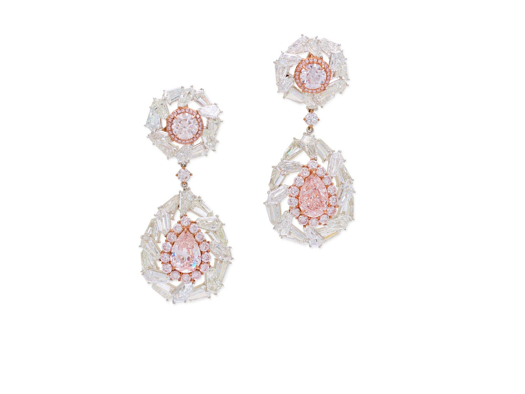 View full screen - View 1 of Lot 1709. Pair of Coloured Diamond and Diamond Pendent Earrings   彩色鑽石 配 鑽石 耳墜一對.