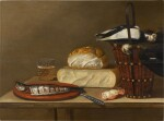 Still life with a herring, cheese, crab and songbirds