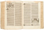 Bible, Latin, Lyon, Trechsel, 1538, old vellum, woodcuts by Holbein