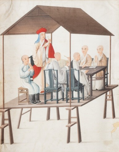 View 1. Thumbnail of Lot 289. A Canton school rice paper 'six figures' painting, China, Qing Dynasty, 19th century.