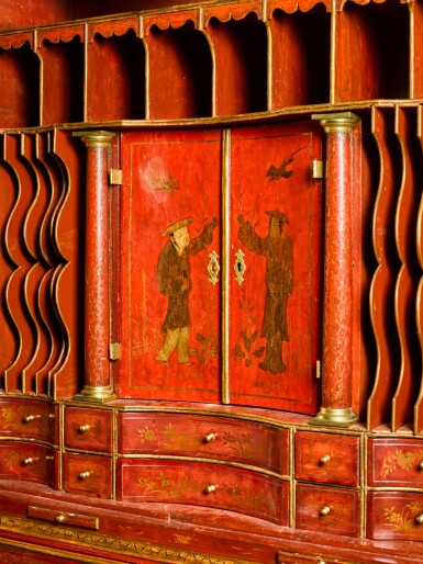 View 4. Thumbnail of Lot 63. A George I gilt heightened red japanned bureau cabinet, first quarter 18th century.