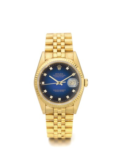 ROLEX | DATEJUST REF 16238, A YELLOW GOLD AND DIAMOND SET AUTOMATIC CENTER SECONDS WRISTWATCH WITH DATE AND BRACELET CIRCA 1990