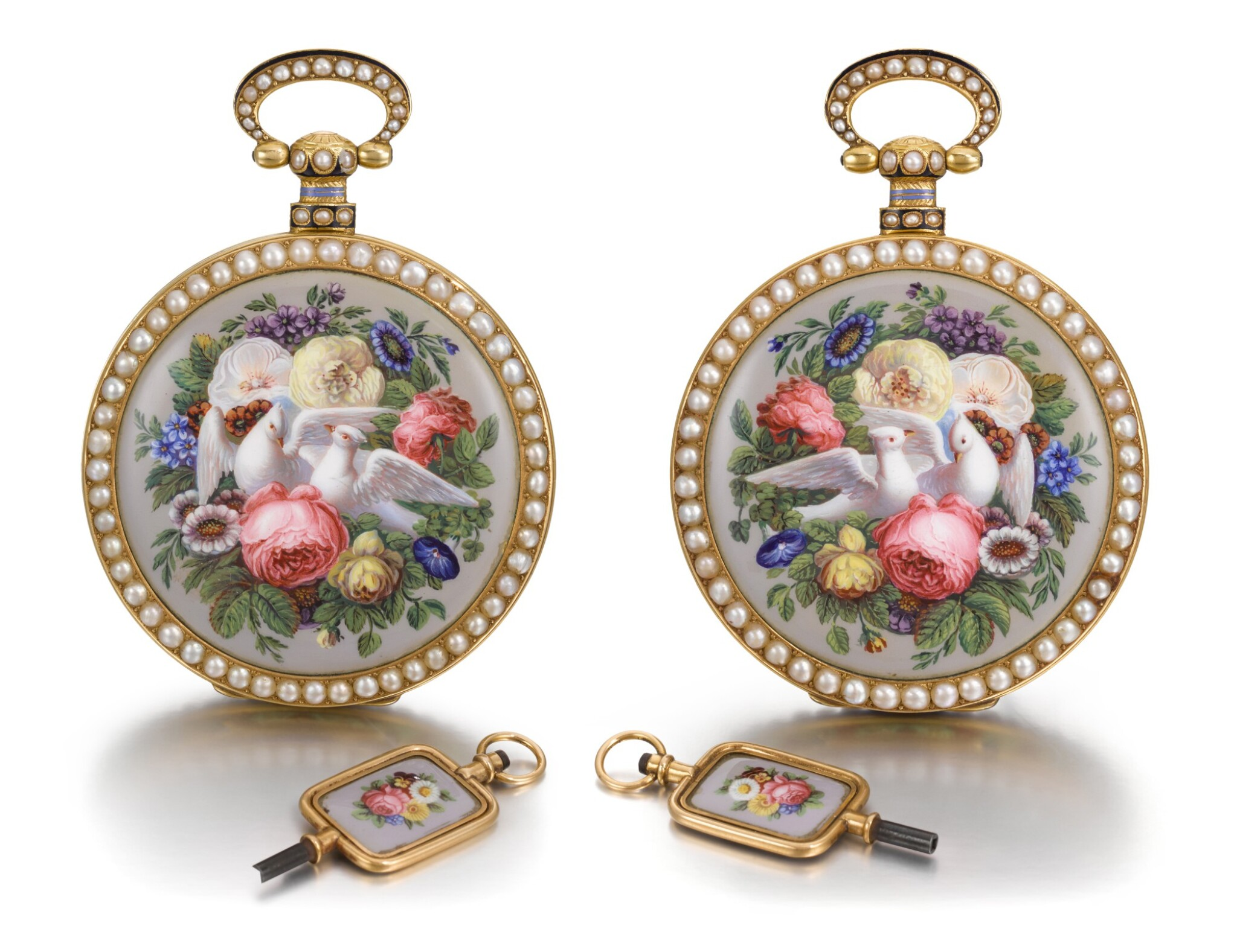 View full screen - View 1 of Lot 292. BOVET FLEURIER | A PAIR OF GOLD, ENAMEL AND PEARL-SET WATCHES MADE FOR THE CHINESE MARKET, CIRCA 1825, NO. 176.