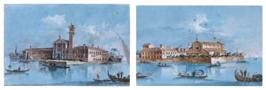 View 1. Thumbnail of Lot 532. GIACOMO GUARDI | Two views of Venice: A) Isola di San Mattia di Murano  B) Isola si San Lazzaro degli Armeni.