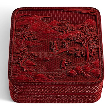 A CARVED CINNABAR LACQUER BOX AND COVER QING DYNASTY, QIANLONG PERIOD | 清乾隆 剔紅淵明愛菊圖四方蓋盒