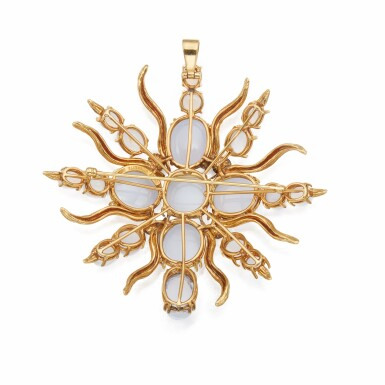 View 2. Thumbnail of Lot 314. Tony Duquette | Gold, Cultured Pearl and Chalcedony Pendant-Brooch.
