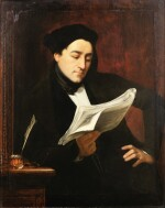 Portrait of a musician reading a score