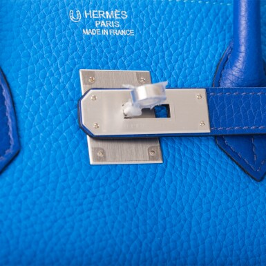 View 7. Thumbnail of Lot 12. Hermès Horseshoe Stamp (HSS) Bicolor Bleu Electrique and Bleu Hydra 35cm of Clemence Leather with Brushed Palladium Hardware.