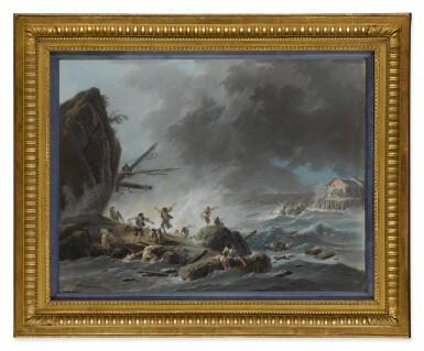 View 3. Thumbnail of Lot 607. A shipwreck on a rocky coast during a storm; A shipwreck on a coast during a storm, a lighthouse beyond.