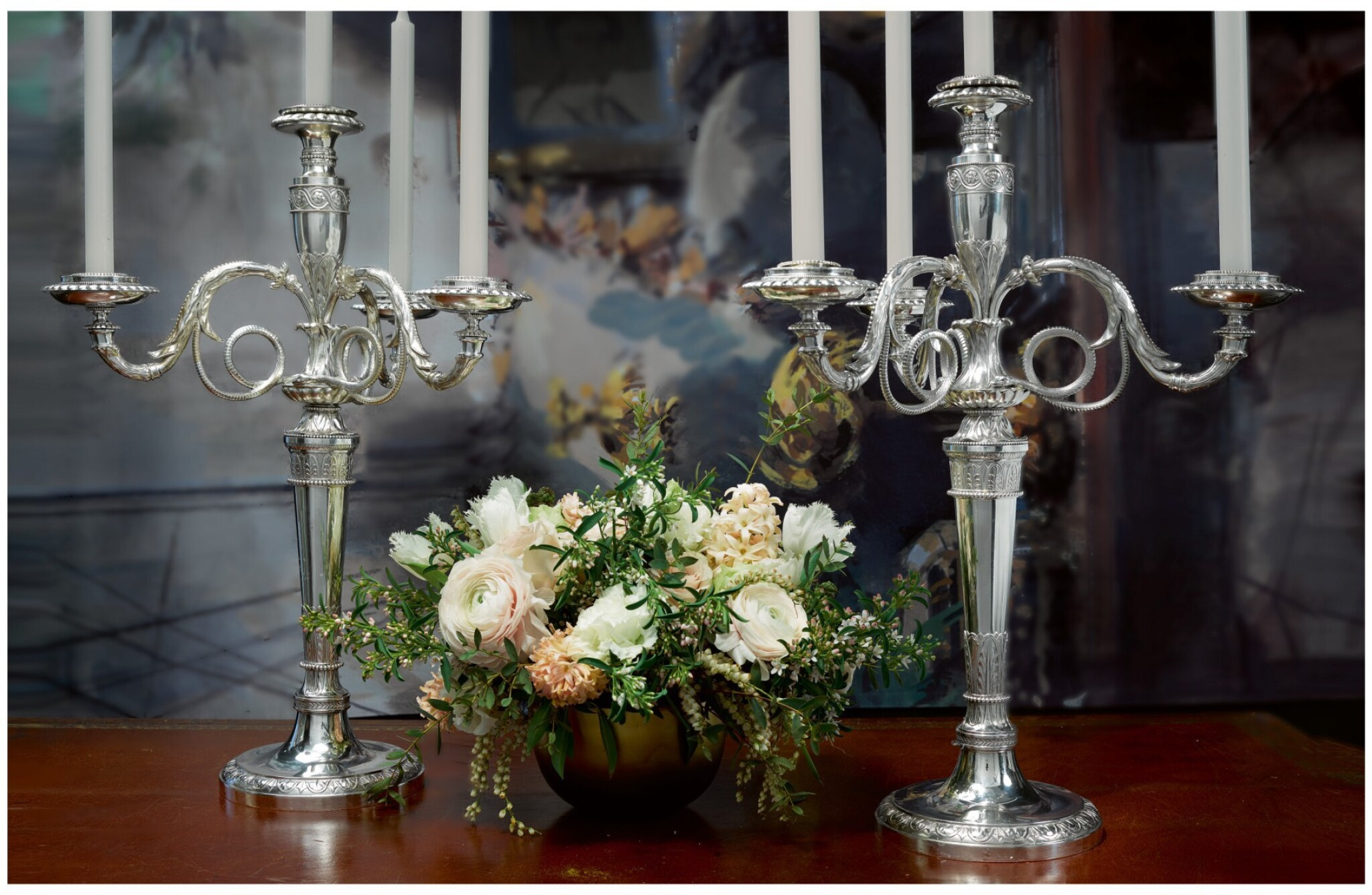 View full screen - View 1 of Lot 36. A PAIR OF GEORGE III SILVER FOUR-LIGHT CANDELABRA AFTER A DESIGN BY JEAN-GUILLAUME MOITTE, BRITANNIA STANDARD, PAUL STORR, LONDON, 1797-98.
