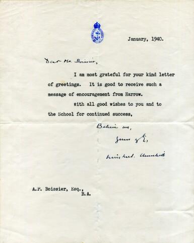 "View 1. Thumbnail of Lot 51. Winston S. Churchill   Typed letter signed (""Winston Churchill""), to Arthur Paul Bossier, January 1940."