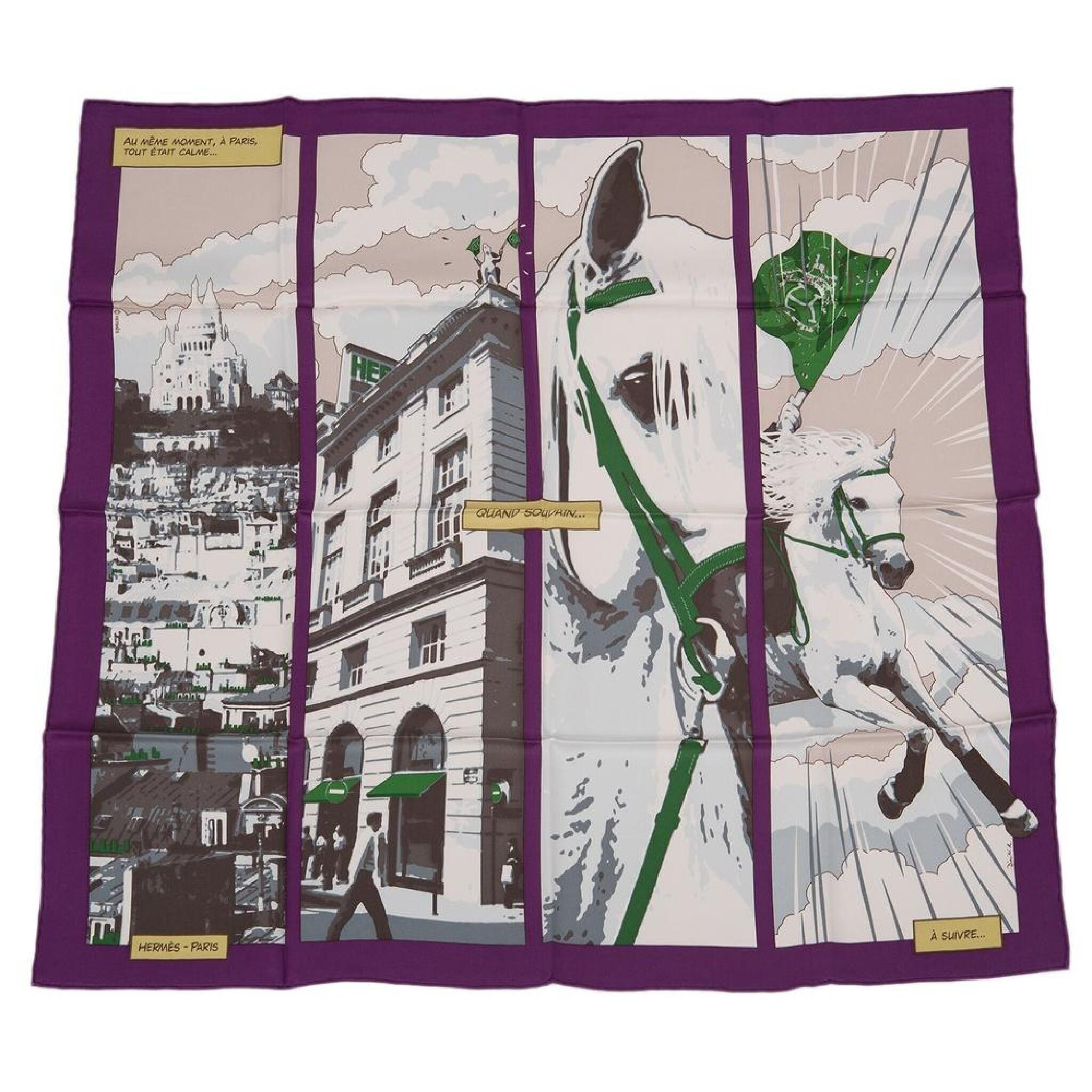 "View full screen - View 1 of Lot 149. Hermès ""Quand Soudain"" Silk Twill Scarf 70cm."