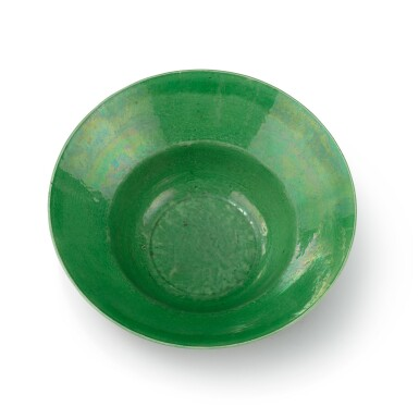 View 2. Thumbnail of Lot 296. A green-glazed ogee bowl and a yellow-glazed bowl.