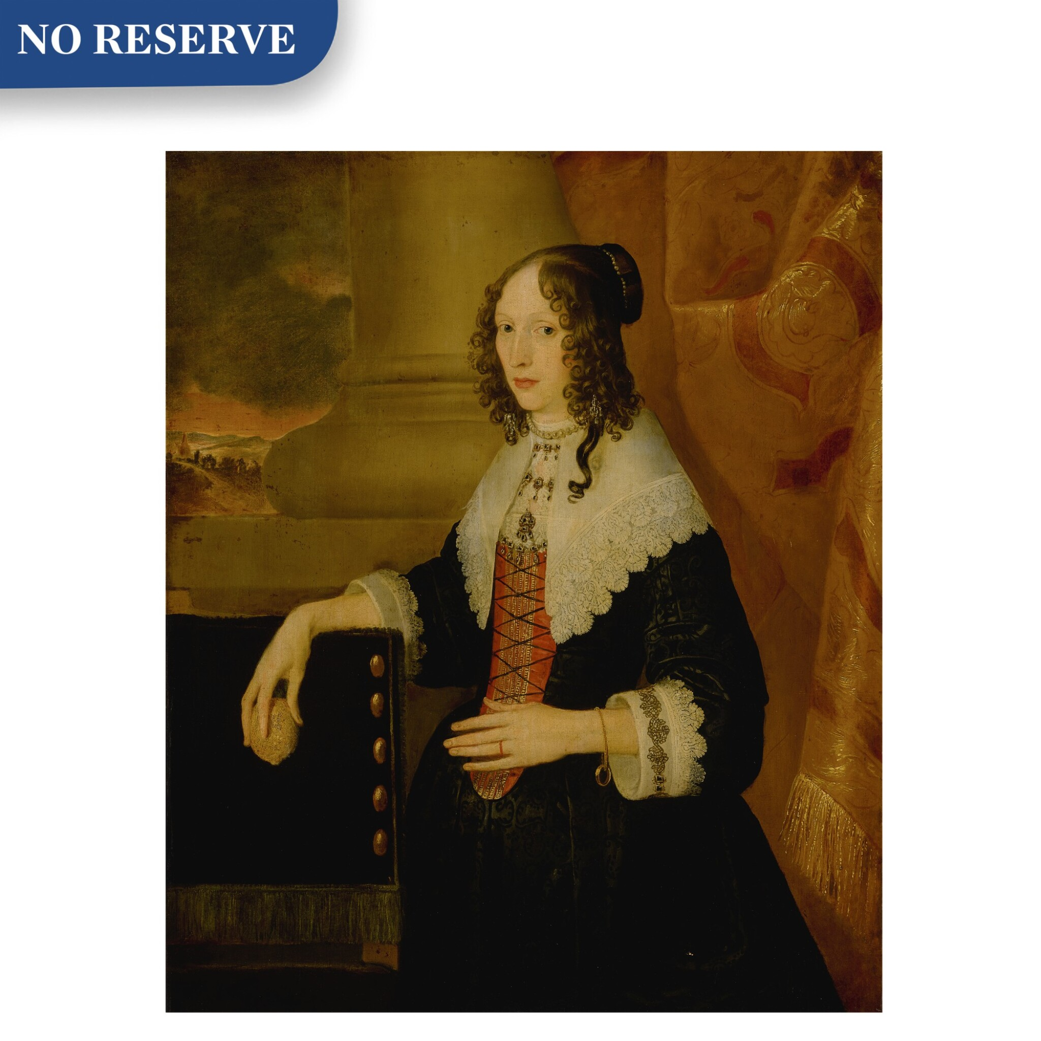 View full screen - View 1 of Lot 517. Portrait of a lady, said to be Susanna Styles, three-quarter length, holding a lemon with a landscape beyond.