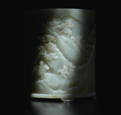 View 7. Thumbnail of Lot 14. An exceptional white and russet jade brushpot, Qing dynasty, Qianlong period   清乾隆 白玉雕進寶圖筆筒.