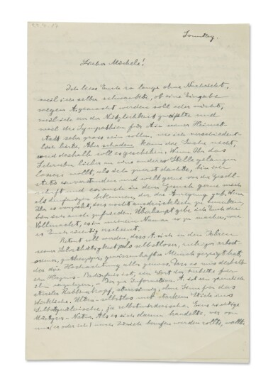 EINSTEIN, ALBERT | ALS TO MICHELLE BESSO, MENTIONING ONE OF HIS LESSER KNOWN BUT BRILLIANT DISCOVERIES, AND AUTHORIZING BESSO TO USE HIS NAME TO APPEAL FOR CLEMENCY FOR FRIEDRICH ADLER FROM THE DEATH PENALTY, 3 PP, 29 APRIL, 1917.