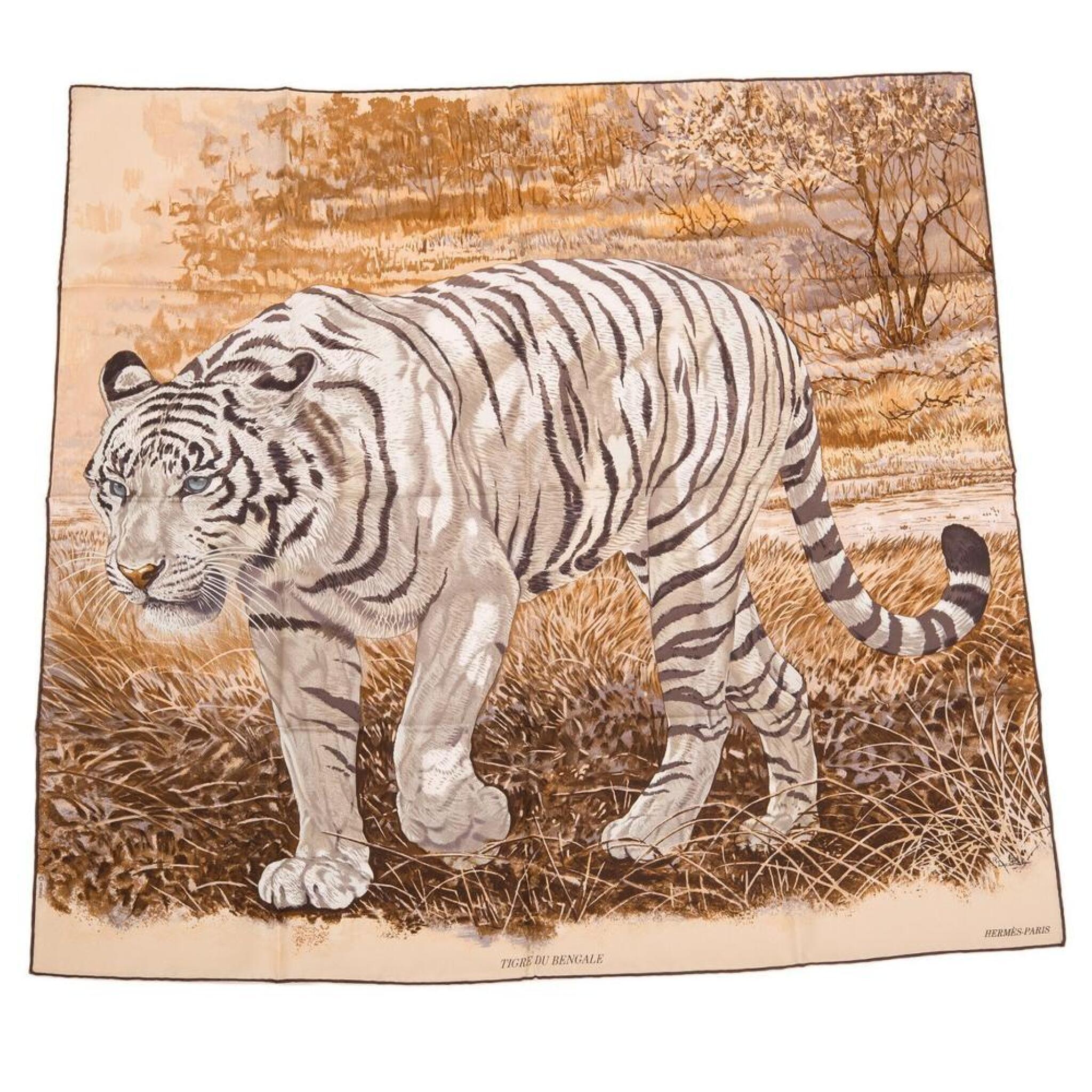 "View full screen - View 1 of Lot 107. Hermès ""Tigre du Bengale"" Silk Twill Scarf 90cm."