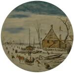 ESAIAS VAN DE VELDE | WINTER LANDSCAPE WITH SKATERS AND A FARM HOUSE