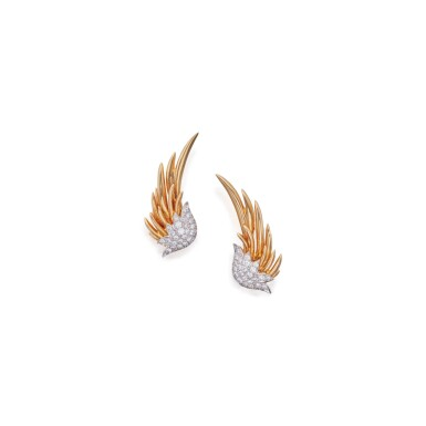 PAIR OF GOLD AND DIAMOND 'FLAME' EARCLIPS, SCHLUMBERGER FOR TIFFANY & CO.
